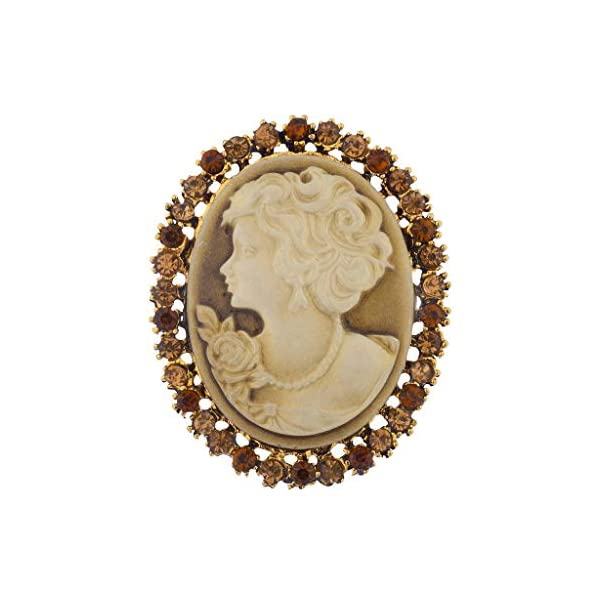 LUX ACCESSORIES Antique Vintage Brown Cameo Brooch Burnished Gold Paver Stones 3