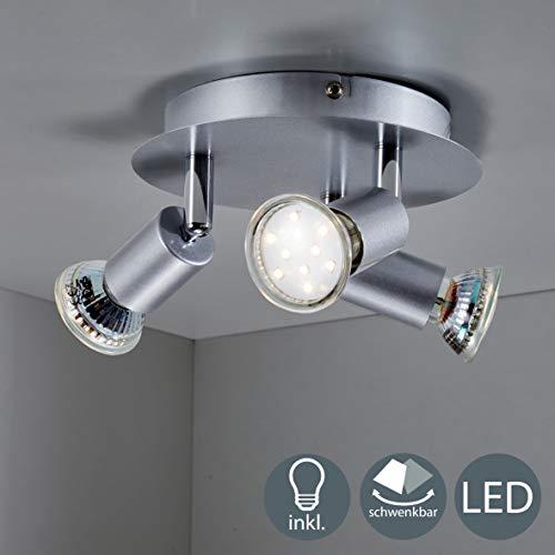 B.K.Licht - Lámpara de techo con 3 focos LED GU10, focos aj