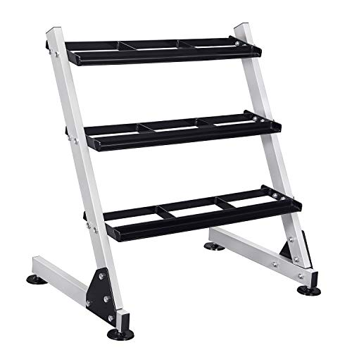 FISUP 3 Tier Dumbbell Rack Stand Only for Home Gym Weights Storage Rack for Dumbbells (800LBS Weight Capacity)