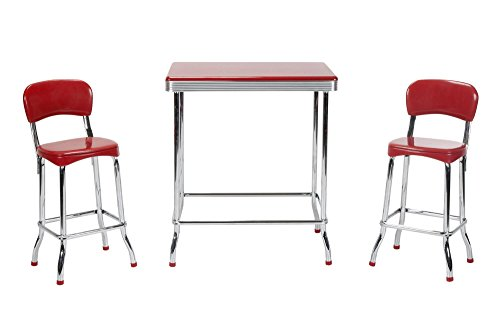 COSCO Stylaire 3 Piece High Top Set, Red & Chrome