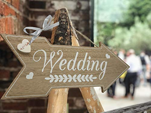 BLISSART Rustic Wedding Decorations Theme - Wedding Directional Signs Decoration Stuff Supplies for Ceremony and Reception Rustic Vintage Decor Wood Sign Wooden Board Props for Wedding Shower