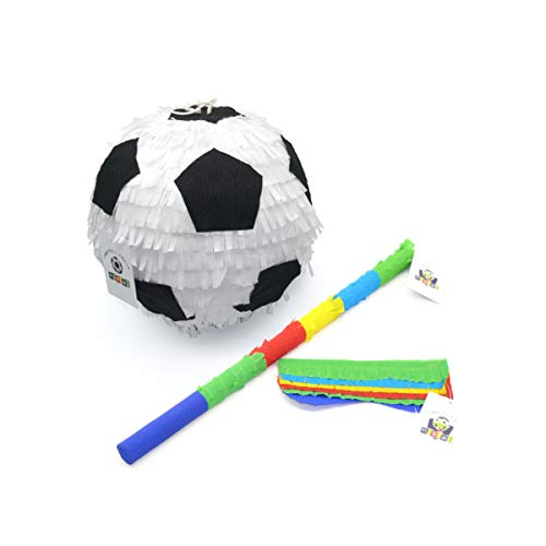 Nislai Pinata Fussball Party Set | Piñata Fußball | Pinata Geburtstag | Geschenkidee | Inkl. Pinata Maske & Pinata Stab