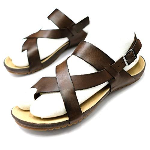 Harssidanzar Mens Genuine Leather Sandals, Brown, Size 9