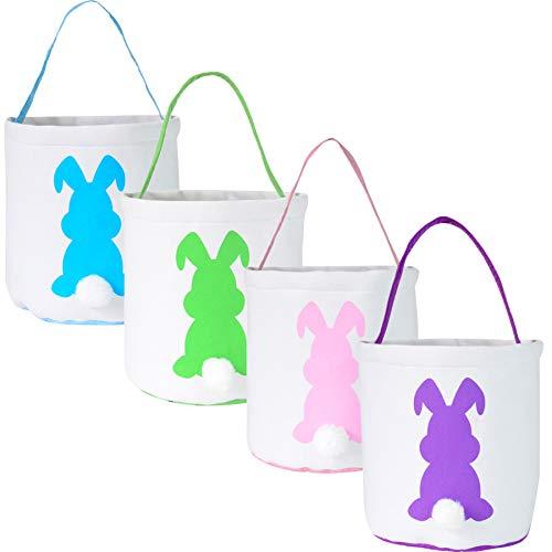 Bolsas de conejo de Pascua, cestas de conejo de Pascua, diseño de orejas de conejo, bolsas de tela de yute para niños de caza, dulces y regalos en fiesta de Pascua (4 unidades)
