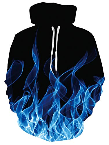 chicolife 3D Print Hoodie for Men Women Long Sleeve Hooded Pullover Double Side Printing Blue Fire Hoody Sweatshirts Loose Fit Jumpers with Big Pocket M