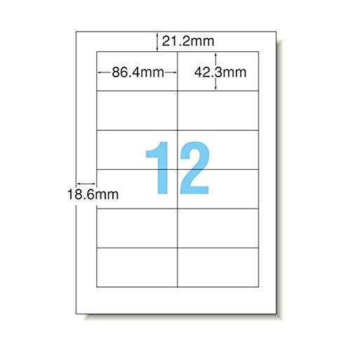 (まとめ) TANOSEE マルチプリンターラベル スタンダードタイプ A4 12面 86.4×42.3mm 四辺余白付 1冊(100シート) 〔×5セット〕