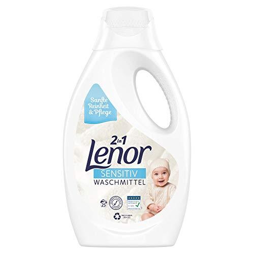 Lenor Waschmittel Flüssig, Flüssigwaschmittel, Sensitiv für sensible Haut und Babyhaut, 25 Waschladungen (1.375 L)