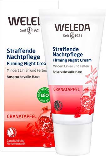 WELEDA Granatapfel straffende Nachtpflege, reichhaltige Naturkosmetik Hautcreme mit aufbauenden Nährstoffen, Gesichtspflege für höhere Elastizität und Spannkraft der Haut (1 x 30 ml)