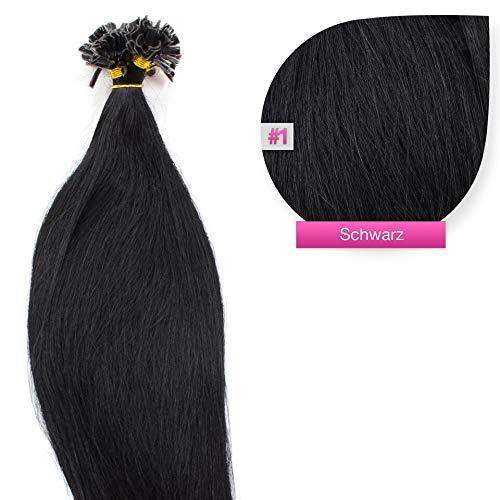 150 x 1,0g glatte indische Remy 100% Echthaar-Strähnen/U-tip/Extensions/Haarverlängerung mit Keratinbondings 50 cm #01 schwarz - black