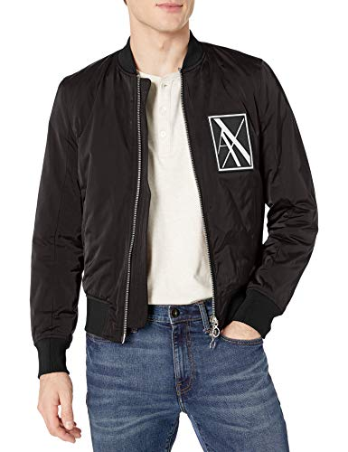 A|X Armani Exchange Men's Zip Up Blouson Jacket with Side Zipper Detail, Black, L