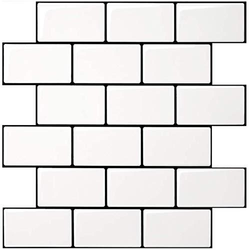 Art3d Subway Tiles Peel and Stick Backsplash, Stick on Tiles Kitchen Backsplash (10 Tiles, Thicker Version)