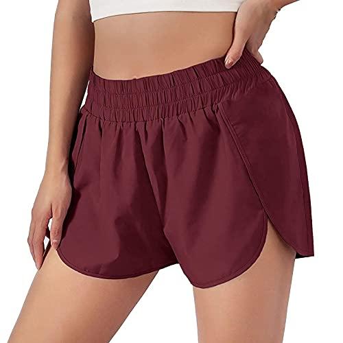 Pantalones cortos de yoga para mujer, de secado rápido, con movimiento de color sólido, elásticos, cintura media, para verano, informales Vino L