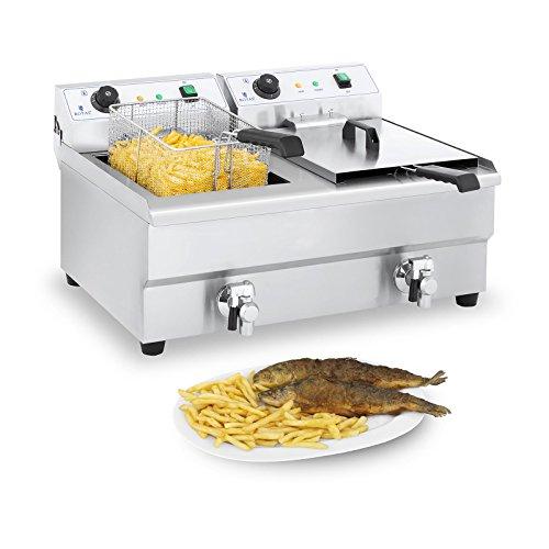 Royal Catering Fritteuse Edelstahl Doppel Fritteuse RCEF 16DH-1 (2 x 16 Liter, 2 x 3.200 Watt, Thermostat, 2 x Ablasshahn, Edelstahl)