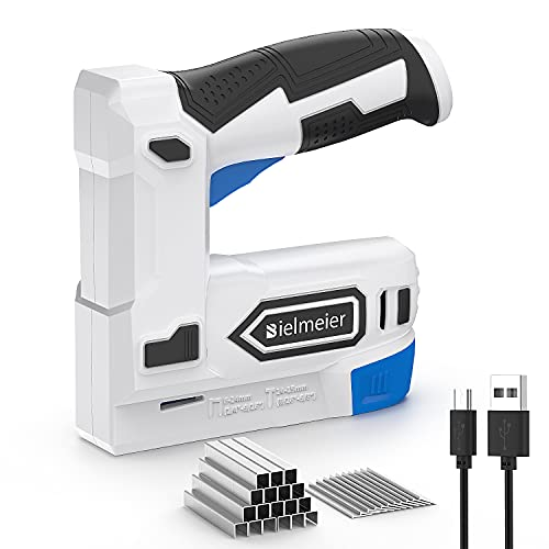Bielmeier Electric Staple Gun, 2 in 1 Lithium-ion Electric Stapler, 4V Cordless Brad Nailer Kit with Staples Nails, USB Charger, Power Tacker for Upholstery, Material Repair, Carpentry, DIY