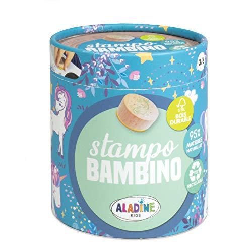 Aladine - Tampons Enfants Stampo Bambino - Coffret 8 Tampons Support Bois Durable Label FSC + Encreur Noir - Loisirs Créatifs dès 3 ans - Thème Licorne