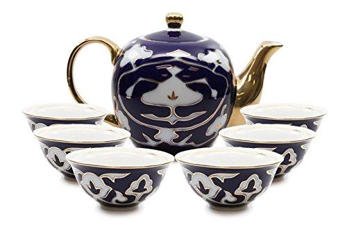 Royalty Porcelain 7-pc Mini Tea Cup Set, Cups and Teapot, Vintage Cobalt Blue Russian Pattern, Bone China Tableware