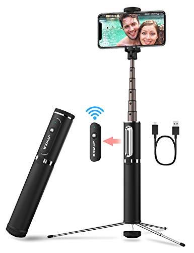 Selfiestick Stativ Aluminium, JTWEB 3 in 1 Selfie Stick mit verstecktem Stativ Selfie-Stange mit Bluetooth Fernbedienung für iPhone Samsung Huawei 3,5-6 Zoll Android Smartphones