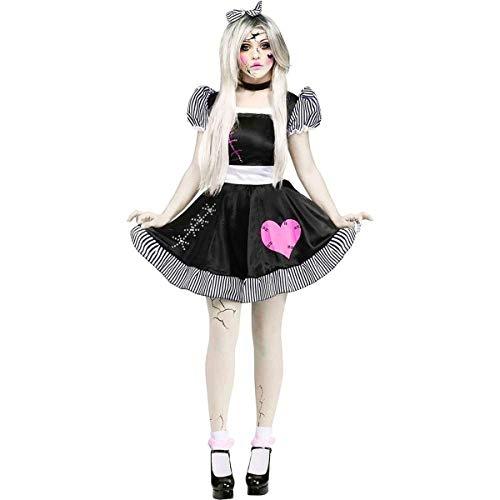 Fun World Costumes Women's Broken Doll Adult Costume, Black/White, Small/Medium