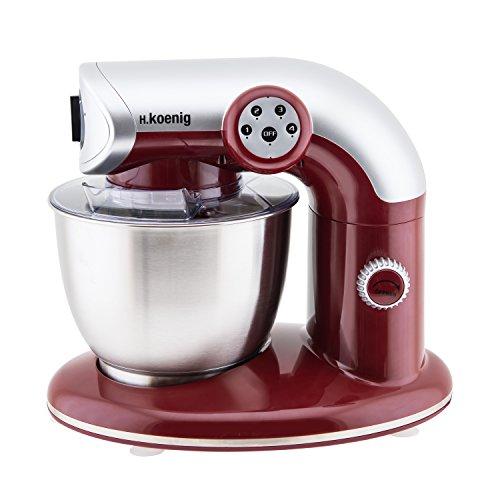 H.Koenig KM80 Küchenmaschine / 5 L Schüssel aus Edelstahl / bis zu 2kg Teig / 3 Aufsätze / 1000 W / 4 Geschwindigkeitsstufen / rot