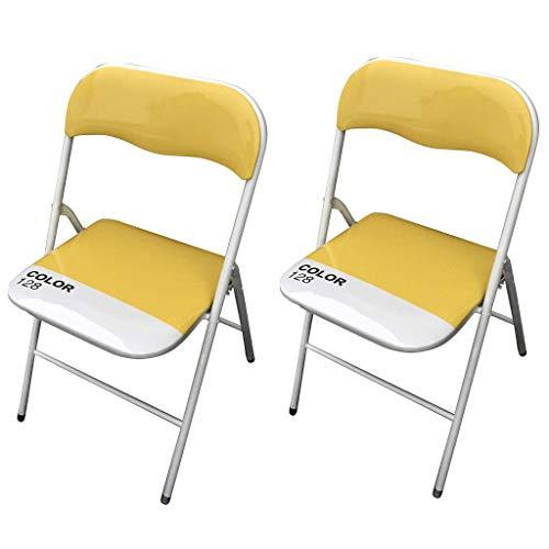 milani home Set di 2 Sedie Slim Pieghevoli Gialle Color 128 con Comoda Imbottitura nella Seduta per Ospiti, Ufficio, Casa, Campeggio