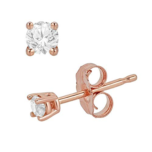 0.10 Carat Total Weight Round Diamond Stud Earrings for Women in 14K Rose Gold (0.30cttw and up IGL Certified) (rose-gold, 0.10)