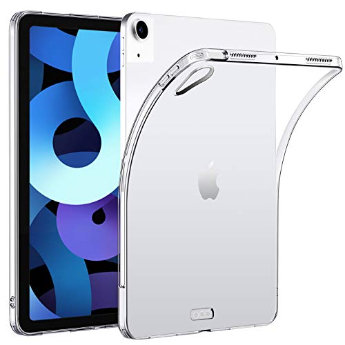 """HBorna Clear Case for 10.9"""" iPad Air 4th Generation 2020, Support Apple Pencil 2nd Gen Charging, Slim Lightweight Silicon Back Cover for iPad Air 4 10.9 inch"""