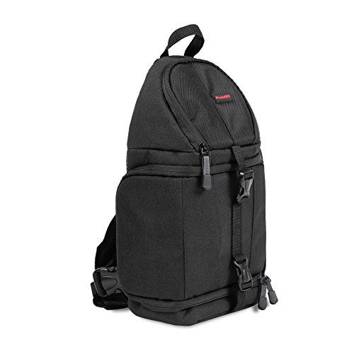 PhotoSEL BG411-Borsa a tracolla con copertura impermeabile, per fotocamere DSLR e accessori, colore: nero