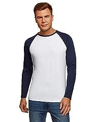oodji Ultra Hombre Camiseta Básica de Manga Larga Tipo Raglán