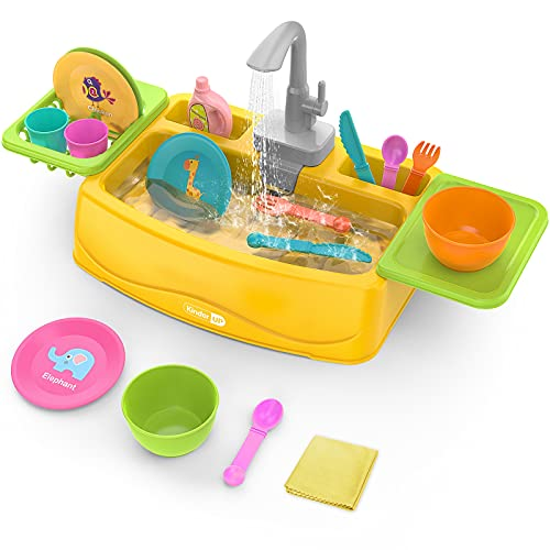 KinderUP Play Kitchen Sink Toy with Running Water for Kids Toddler, Learning Dishwasher Set with Automatic Water Cycle System, Pretend Role Play Toys for Boys Girls