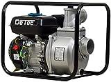 DeTec 3' Benzin Wasserpumpe Gartenpumpe (60.000 L/h , 28 Meter Förderhöhe, 3 Zoll Schlauchanschluss, 7 Meter Ansaughöhe, Seilzugstart, 6-8 Stunden Laufzeit)