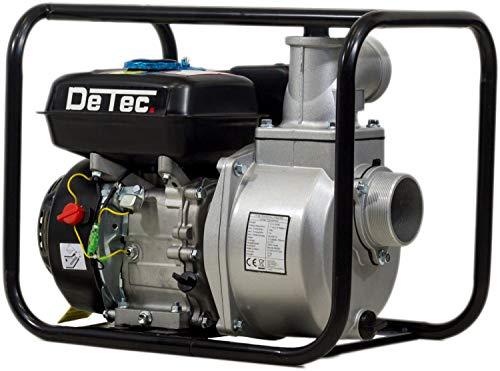 """DeTec 3\"""" Benzin Wasserpumpe Gartenpumpe (60.000 L/h , 28 Meter Förderhöhe, 3 Zoll Schlauchanschluss, 7 Meter Ansaughöhe, Seilzugstart, 6-8 Stunden Laufzeit)"""