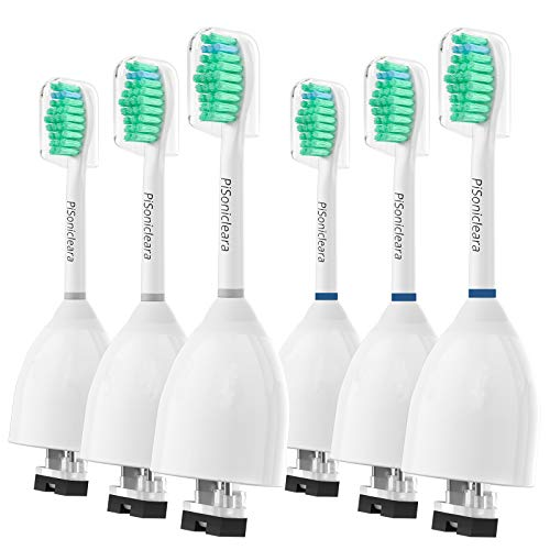 Replacement Toothbrush Heads for Philips Sonicare E-Series(6 Pack), Fits Elite, Essence, Advance, CleanCare, Xtreme HX7022, HX7026, HX7023, E-9000, E-4000, Electric Tooth Brush Pisonicleara