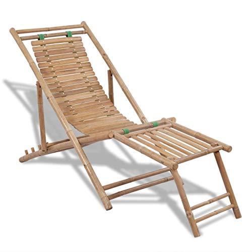 Tidyard Chaise Longue Chaise de Terasse en Bambou avec Repose-Pieds 152 x 59 x 80 cm