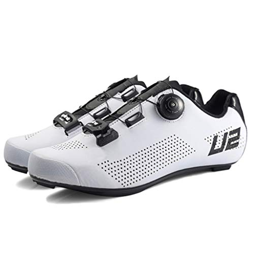LIXIYU Bicicletta Scarpe per Scarpe Uomo della Bicicletta Mountain Bike Scarpe Traspiranti in Bicicletta Spinning Scarpe Lock Road Scarpe Scarpe in Mountain Bike,White-45