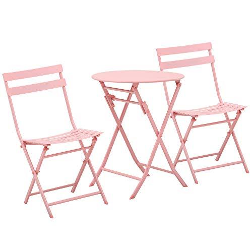 Outsunny 3-TLG. Gartenset Garnitur Bistrotisch mit 2 Stühlen für Hof Garten klappbar Rosa