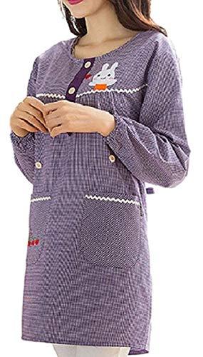 (アリルチョウ) 割烹着 おしゃれ かわいい かっぽう着 保育士 キャラクター 長袖 ギンガム チェック 柄 長袖 かっぽうぎ 女性 紫 色 パープル うさぎ