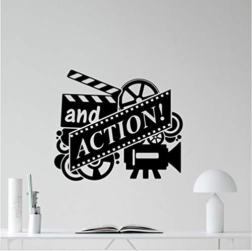 hllhpc Action Movie Muursticker Film Reel Cinema Home Theater Vinyl Sticker Muurdecoratie Verwijderbare Behang Lijm Muurposters 66 * 57Cm