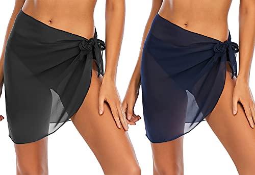 Sleikonna Paquete de 2 mujeres de playa envolver sarong cubrir traje de baño de gasa envolver faldas (Black+blue,XL)