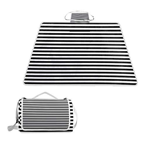 Bennigiry Picknickdecke mit Streifen, Schwarz/Weiß Linien, extra groß, faltbar und wasserdicht, für Familie, Camping, für den Außenbereich, Strand, Wandern, Gras, Reisen