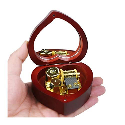 Caja de música de madera hecha a mano, regalo de cumpleaños para Navidad, San Valentín, corazón, recuerdo melodioso