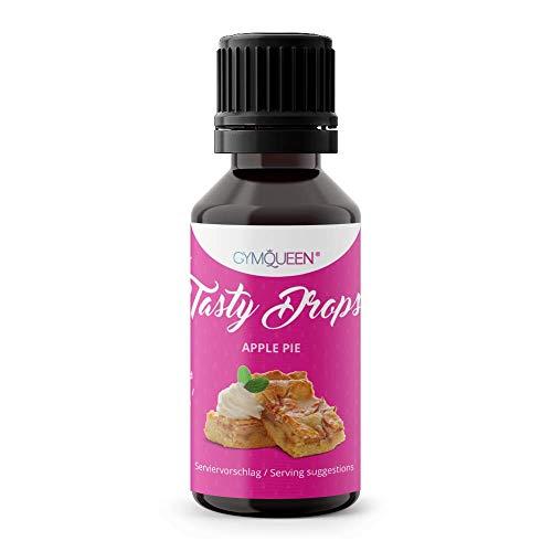 GymQueen Tasty Drops 30ml | Kalorienfreie, Zuckerfreie und Fettfreie Flavour Drops | Aroma Tropfen zum Süßen von Lebensmitteln | Geschmackstropfen ohne Künstliche Farbstoffe | Apfelkuchen