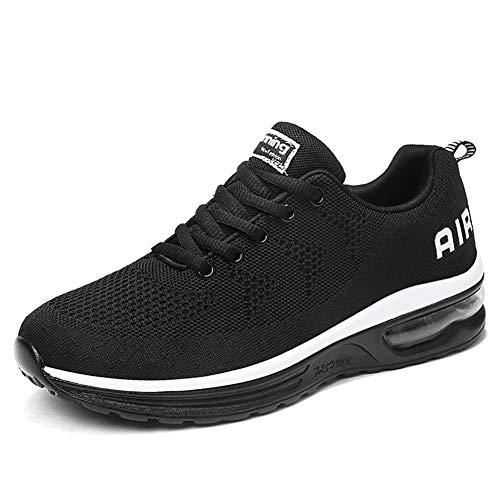 populalar Herren Damen Laufschuhe Turnschuhe Sportschuhe Straßenlaufschuhe Sneakers Atmungsaktiv Trainer für Running Fitness Gym Outdoor Leichte-BlackWhite45