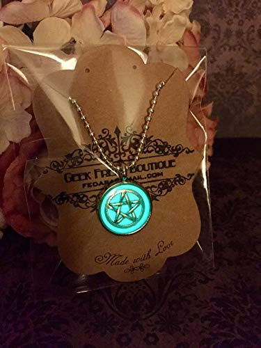 Supernatural Inspired Protection Tattoo Pentagram Pentacle Glow In The Dark Pendant On Ball Chain Necklace