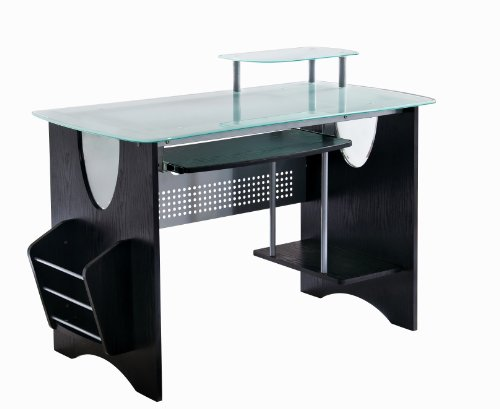 Stylish Frosted Glass Top Computer Desk with...