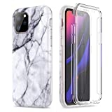 SURITCH Marble iPhone 11 Pro Case, [Built-in Screen Protector] Full-Body Protection Hard PC Bumper + Glossy Soft TPU Rubber Gel Shockproof Cover for iPhone 11/XI Pro 5.8 inch 2019(Black Marble)