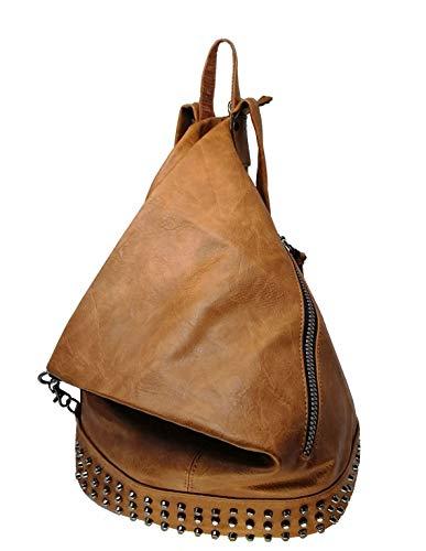 Casimirri 1892® - Mochila de mujer, bolso tipo mochila con bandolera, hecho de piel sintética, estilo casual, piel, elegante, multifunción, antirrobo, ideal para viajes o como bolso habitual, cuero, L