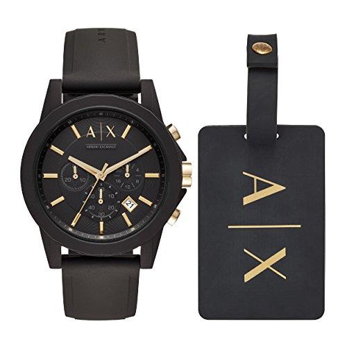 Emporio Armani Herren Chronograph Quarz Uhr mit Silikon Armband AX7105