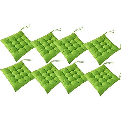AIITLLYNA Cojín Decorativo de Asiento para Silla de Jardín,Set de 8 Cojines,Cojines para Silla de 40 x 40 cm,para Terraza Exterior, Cocina o Comedor (Verde)