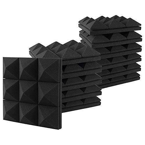 GEEKEN Paneles de Espuma AcúStica de 12 Piezas, Azulejos de Cu?A de Estudio, Paneles de Pared de Procesamiento de Estudio de PiráMide 3D de AbsorcióN de Sonido de Espuma AcúStica