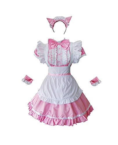 Zhangjianwangluokeji Erwachsene Französisch Cat Maid Cosplay Kostüm Damen Lolita Kleid Full Set Outfits für Halloween-Party (Rosa, XL)